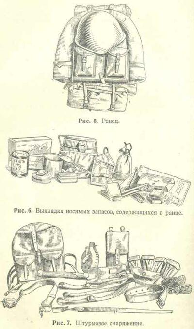 Рис.5 Ранец. Рис.6. Выуладка носимых запасов, содержащихся в ранце. Рис. 7 Штурмовое снаряжение.