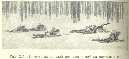 Рис. 205. Пулемет на огневой позиции зимой на опушке леса.